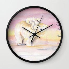 Polar Bear Family Wall Clock