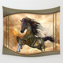 Steampunk, awesome steampunk horse Wall Tapestry