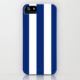 Catalina blue - solid color - white vertical lines pattern iPhone Case