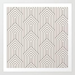 Ecru mocha brown geometric pattern Art Print