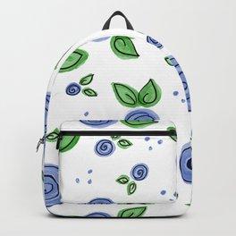 Swirly Blue Rose Pattern Backpack