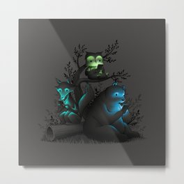 Connecting With The Forest Animals Using Phones Metal Print