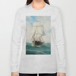 Vintage Swedish Sailboat Painting (1887) Long Sleeve T-shirt