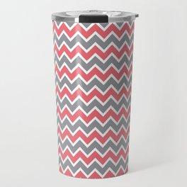 Modern Chevron Zig-Zag Pattern (rose/grey) Travel Mug