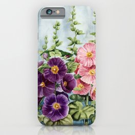 New Mexico Hollyhocks Watercolor iPhone Case