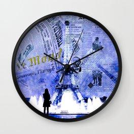 Paris News Blue Wall Clock