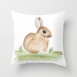 Spring Watercolor Easter Bunny Throw Pillow