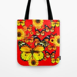 CHINESE RED YELLOW SUNFLOWERS &  BUTTERFLIES ART Tote Bag