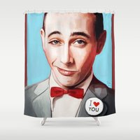 pee wee Shower Curtains featuring Pee-Wee Herman Is Back by lensebender