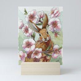 Amandine - Rabbit and flowers Mini Art Print