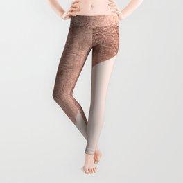 Minimalist blush pink rose gold color block geometric Leggings