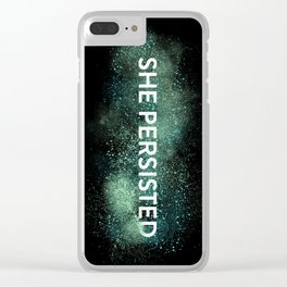 She Persisted - Turquoise Dust Clear iPhone Case