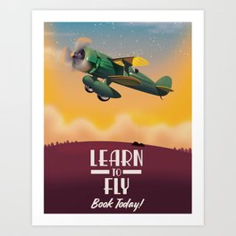 Learn To Fly, vintage flight travel poster Art Print