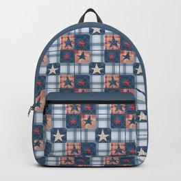 Blue denim plaid patchwork . Backpack