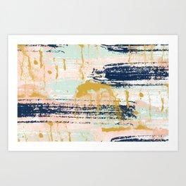 Blush, Gold, Navy, White, Mint Abstract  Art Print