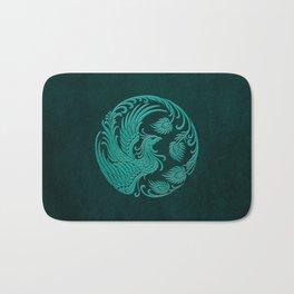 Traditional Teal Blue Chinese Phoenix Circle Bath Mat