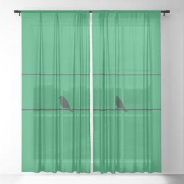 Bird and wires with green background Sheer Curtain