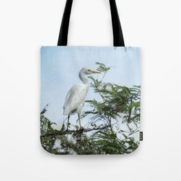 Cattle Egret In a Tree Tote Bag