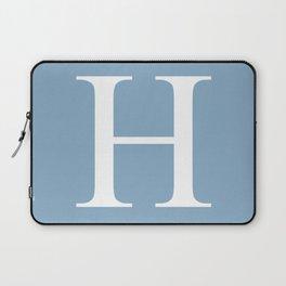 Letter H sign on placid blue color background Laptop Sleeve