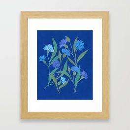 Cornflower field on bright blue Framed Art Print