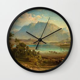 A view of Konigsee near Munich, Germany by Frederick Lee Bridell Wall Clock