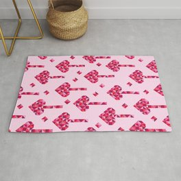 Disco style pink hearts medallions pattern Rug