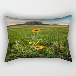 Sunflowers on the Western Prairie - Flowers and Landscape Near Scottsbluff Nebraska Rectangular Pillow