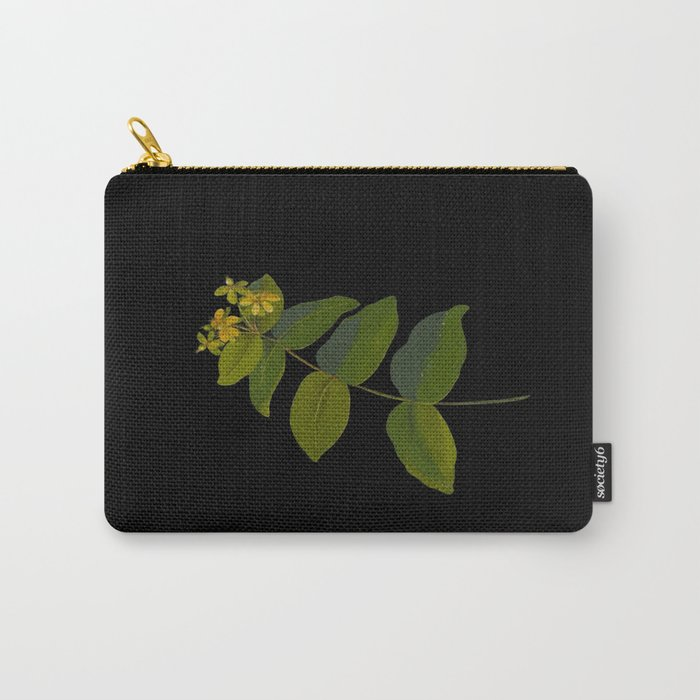 Hypericum Androsaemum Mary Delany Vintage Botanical Collage Paper Flowers Carry-All Pouch