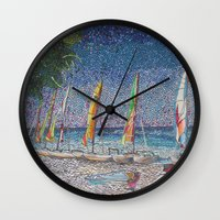 cuba Wall Clocks featuring Cuba by Juliana Kroscen
