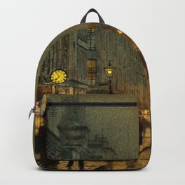 Classical Masterpiece 'Glasgow, Twilight' by John Atkinson Grimshaw Backpack