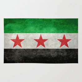 Syrian independence flag, vintage style Rug