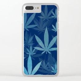 Marijuana Cannabis Weed Pot Blue Leaves Clear iPhone Case