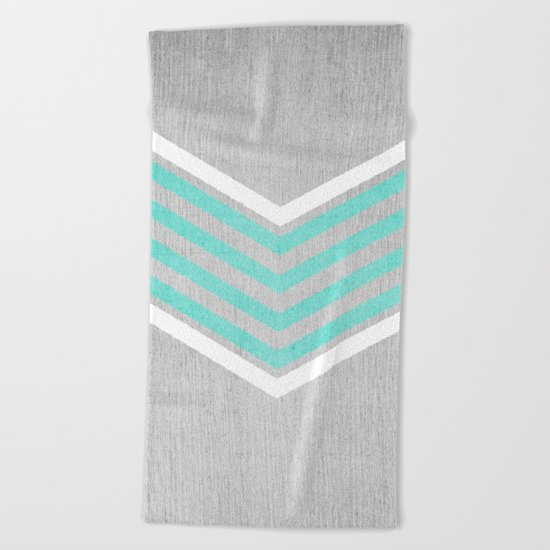 Teal and White Chevron on Silver Grey Wood Beach Towel