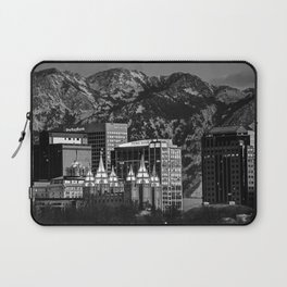 Salt Lake City Downtown Winter Skyline - Black And White Laptop Sleeve