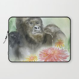 Gorilla in the Flowers Watercolor Laptop Sleeve