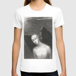 French painter Odilon Redon, Fallen Angel Spreads His Black Wings. Fine art for art lovers. T-shirt
