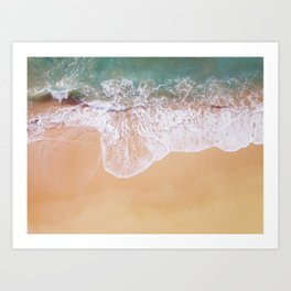 Sea and sand, crashing waves Art Print