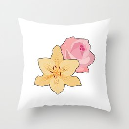 Pink Rose & Day Lily Throw Pillow