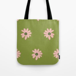 Colorful retro home decor and textile design flower pattern on olive Tote Bag