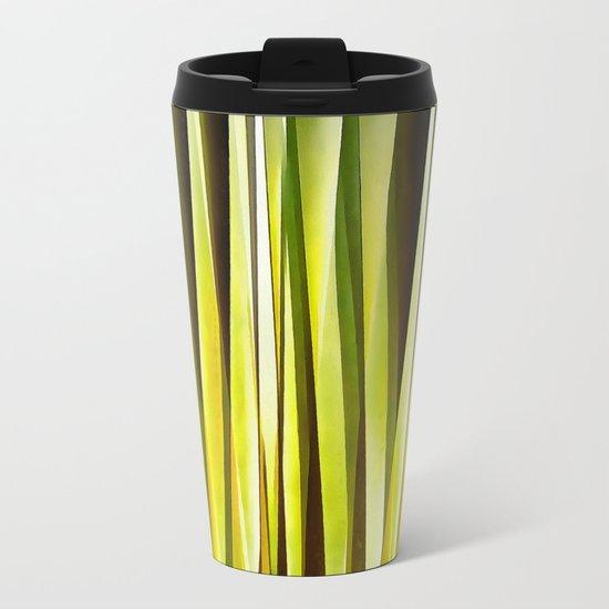 Yellow Ochre and Brown Stripy Lines Pattern Metal Travel Mug