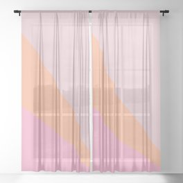 Simple Candy Pastel Color Block Shapes in Pink and Coral Sheer Curtain