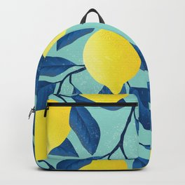 Vintage yellow lemon tree hand drawn illustration Backpack