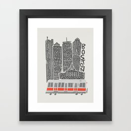 Boston City Illustration Framed Art Print