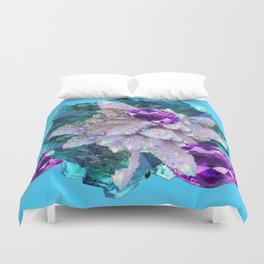 PURPLE AMETHYST  AQUAMARINE QUARTZ CRYSTAL ART Duvet Cover