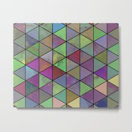 Pastel Triangulation - Abstract, textured, geometric painting Metal Print