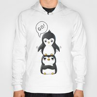 penguins Hoodies featuring Penguins by Freeminds