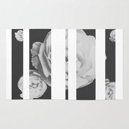 White Stipe Roses Rug