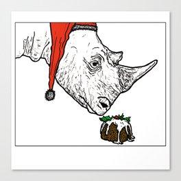 Christmas Rhino Canvas Print