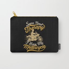 Funny Motorcycle Rider Therapy - Vintage Biker Carry-All Pouch