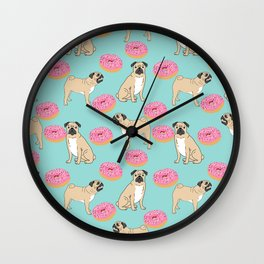 Pug lover food dog breed gifts pure breed pugs donuts doughnuts Wall Clock